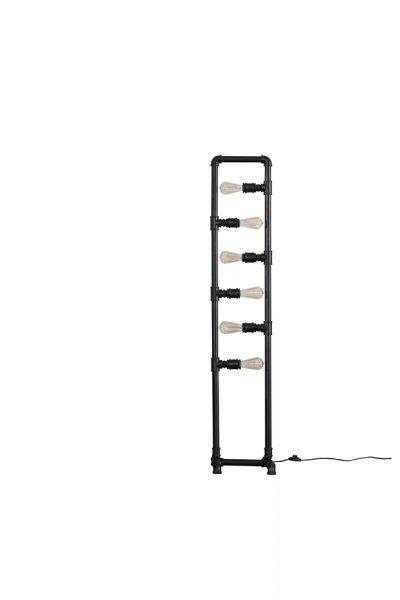 Vloerlamp 6L industrial tube - Zwart