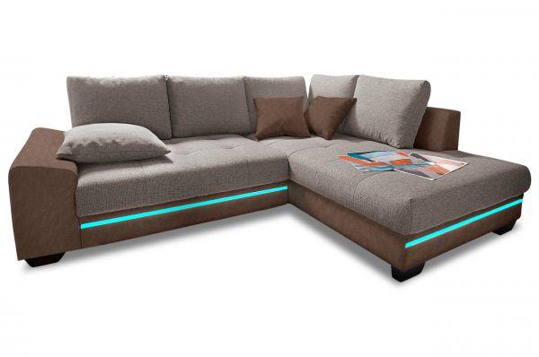 Hoekbank XL Nikita - met LED en slaapfunctie - Bruin