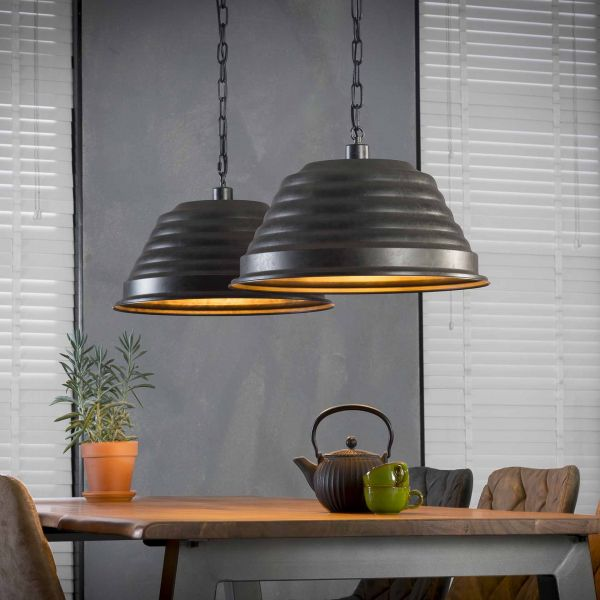 Hanglamp 2xØ47 ribbel - Charcoal