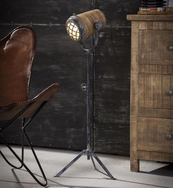 Vloerlamp iron houten kap L - Massief mango naturel