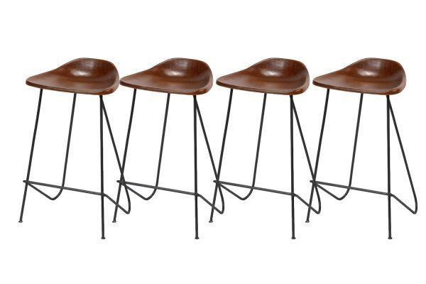 Barstoel in vintage leder - Cognac (4-delige set)