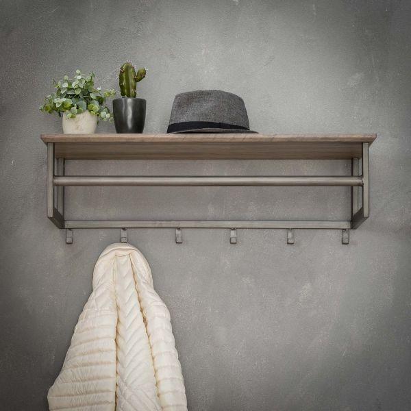 Kapstok 6 haken met roede -hoedenplank - 3D eiken greywash
