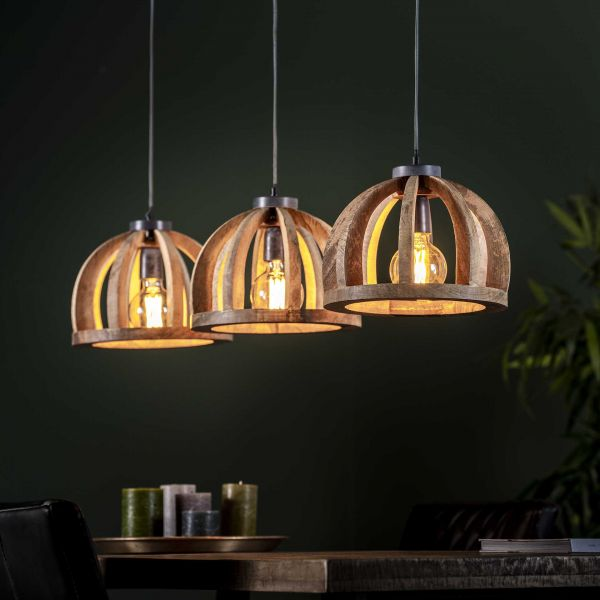 Hanglamp 3x Ø30 gebogen houten spijlen - Massief mango naturel
