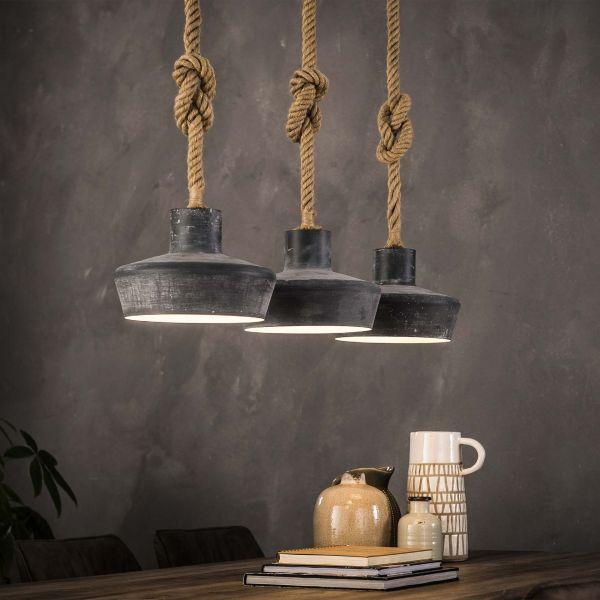 Hanglamp 3xØ28 betonlook verstelbaar touw - Grijs