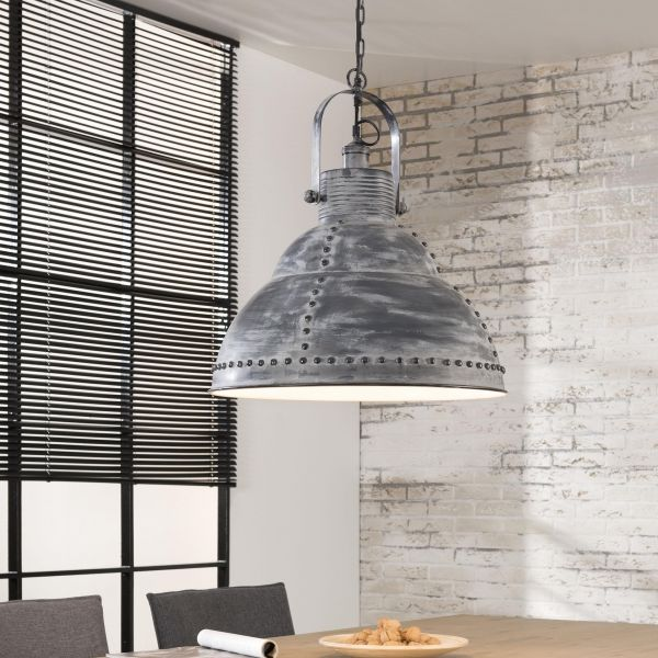 Hanglamp Ø51cm popnagel effect beugel - Grijs