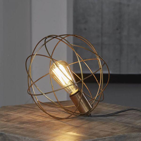 Tafellamp bol draadstaal - Brons antiek