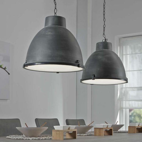 Hanglamp 2L industry concrete dubbele kap - Grijs