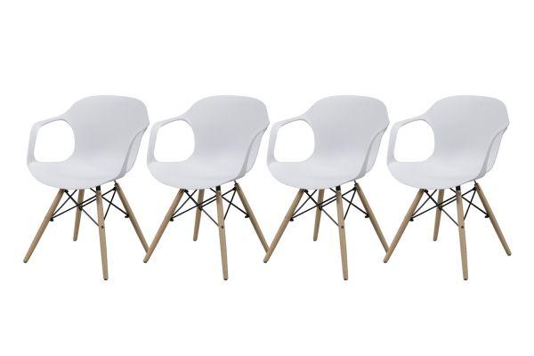 Kuipstoel horizontale lijnen - Wit (4-delige set)