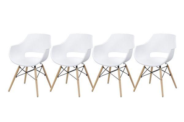 Kuipstoel kunststof groot - Wit (4-delige set)