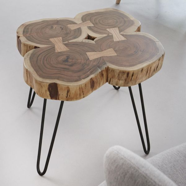 Salontafel 4 stammen in 6cm dik massief acacia voorzien van stalen frame - naturel