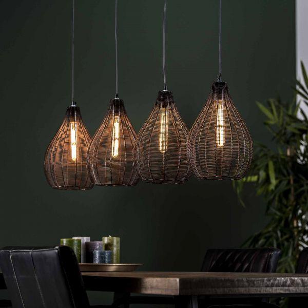 Hanglamp 4L druppel draadframe - Zwart nikkel