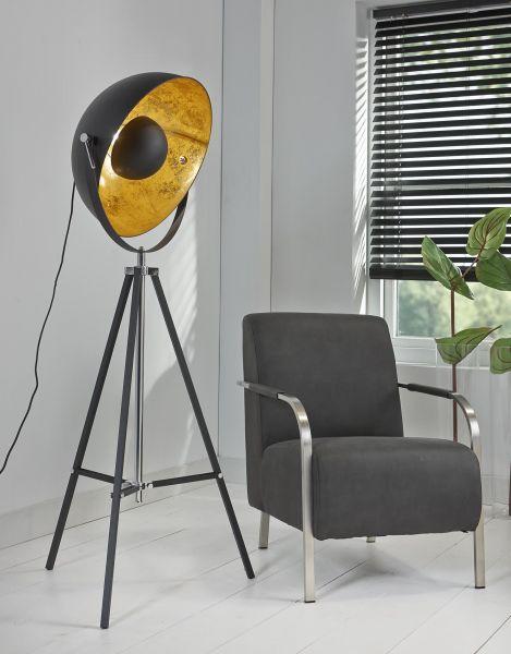Vloerlamp 1L 3-poot schijnwerper - Zwart