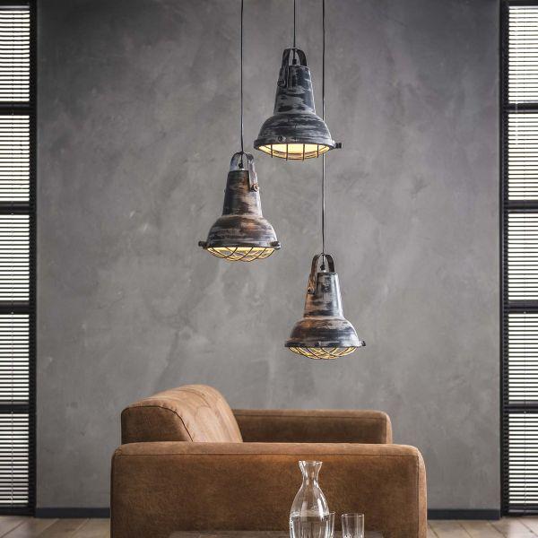 Hanglamp 3xØ42 iron raster - Grijs