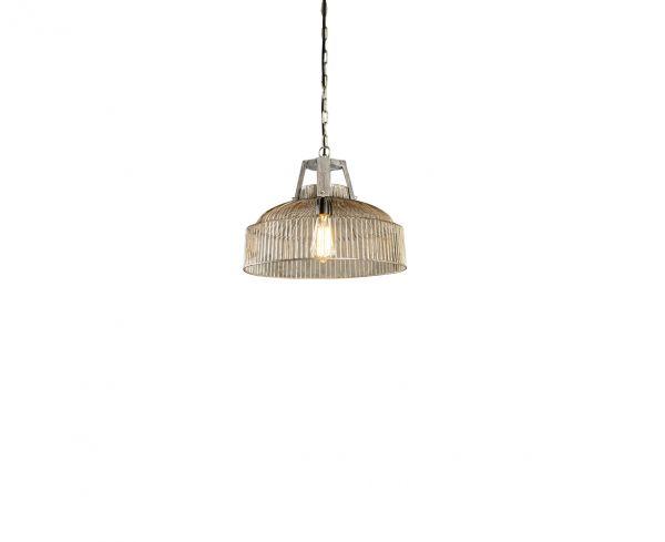 Hanglamp draad met houten beugel Ø40cm. - Grijs