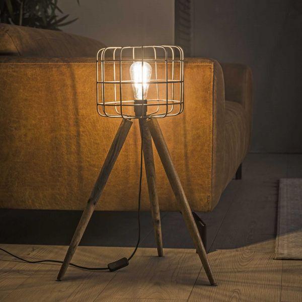 Vloerlamp korf houten driepoot - Oud zilver