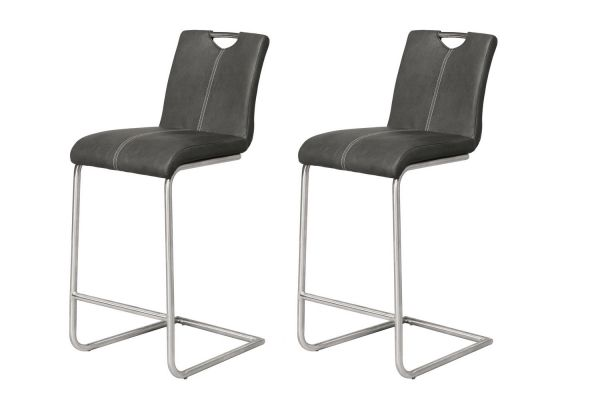 Barstoel ronde buis swingframe - Zwart (2-delige set)