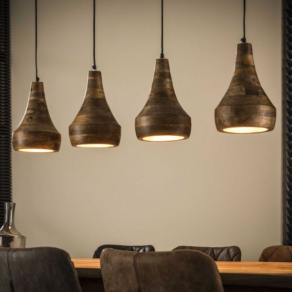 Hanglamp 4xØ20 houten kap - Massief mango naturel