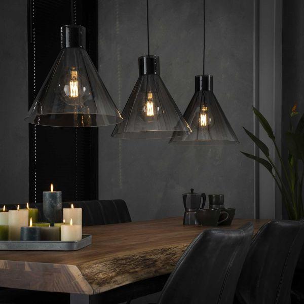 Hanglamp 3x Ø37 shaded kegel glas - Zwart