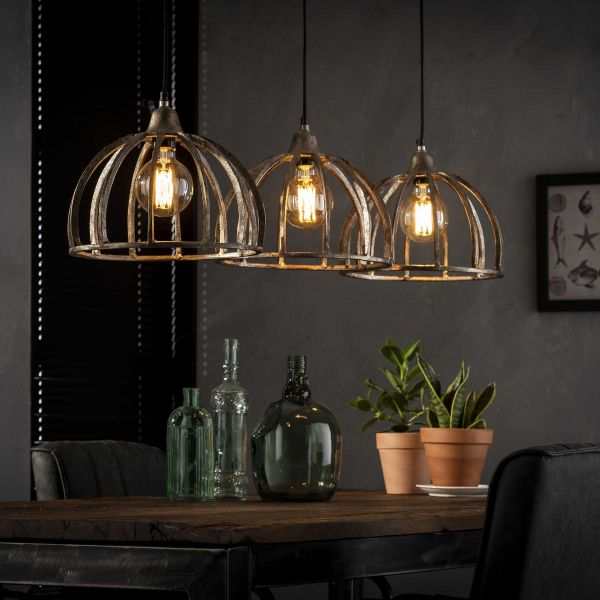 Hanglamp 3x Ø30 ribben zandgegoten aluminium - Antiek Nikkel